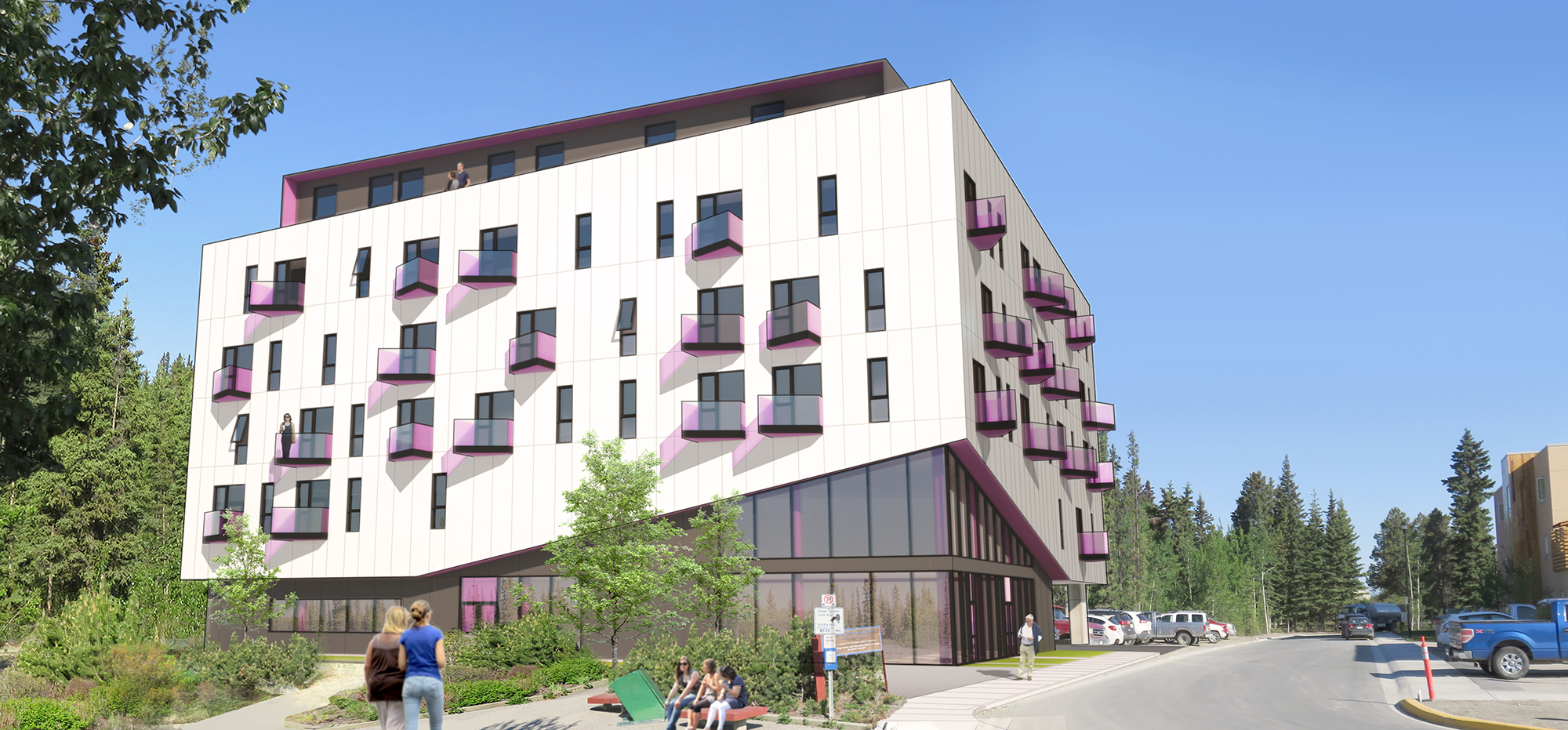 Rendering of Cornerstone Supportive + Affordable Housing building